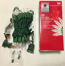 50 Mini String Lights Clear White Christmas Green Wire Outdoor Indoor (10ft)