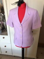 DEBENHAMS Classics Ladies Pink Short Sleeve Tailored Blazer Jacket Size 12