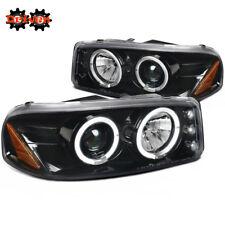 99-06 GMC Sierra Yukon Denali Truck Glossy Black Projectors Dual Halos LED DRL