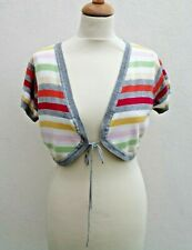 BEN SHERMAN MEDIUM SIZE 10/12 MULTICOLOURED STRIPE COTTON KNIT BOLERO SHRUG