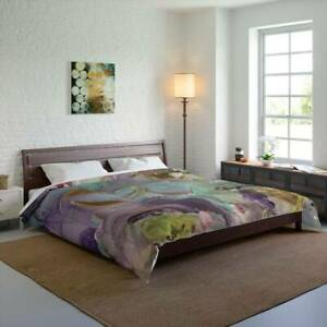 Lilac Bliss Design Abstract Art Polyester Comforter Artistic Quilt Blanket in Li