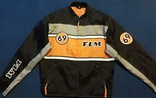 Rare FLM 69 Polo Men's Motorcycle Racing Rider Textile Jacket Orange Black Large