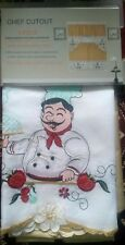 """3 pc. Embroidery Curtains Set: 2 Tiers & Swag 60""""x36"""", FAT CHEF WITH SOUP PLATE"""