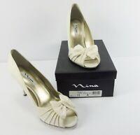 Nina Forbes Women's Heels Ivory Luster Satin Pumps Heels Size 11 M NIB