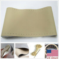 Genuine Leather Auto Car Steering Wheel Cover With Needles and Thread Beige US