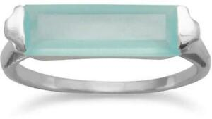 Rhodium Plated Green Chalcedony Bar Ring 925 Sterling Silver