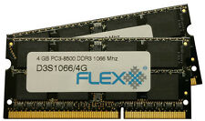 8GB kit, ( 2 x 4GB ) 204-pin SODIMM, DDR3 PC3-8500 1067Mhz memory module Flexx