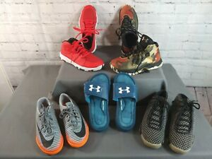 GUC lot of 5 boy's UNDER ARMOUR & NIKE athletic shoes & slides - SIZE 3 & 3 1/2