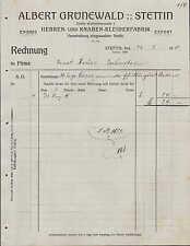STETTIN, Rechnung 1911, Herren- u. Knaben-Kleider-Fabrik Albert Grünewald