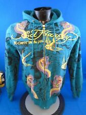 Ed Hardy Zip Up Hoodie Cobra And Swallow Repeat Teal Size S Small
