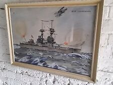 More details for battleship painting. water colour . hms collingwood by s reiner dated 1937.