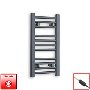 300mm Wide 600mm High Flat Anthracite Pre-Filled Electric Towel Rail Radiator