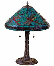 "Tiffany Style Stained Glass Turquoise Table Lamp 16"" Shade New"