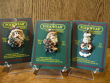 Boyds Folkwear CHRISTMAS Pins; 2649 & 26300 NICHOLAS with TREE; PEACENIK SANTA