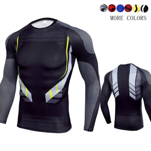 Men's Compression Athletic T-shirt Baselayer Long Sleeved Fitness Cool Dry Top