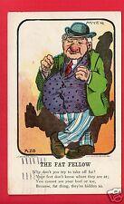 COMIC THE FAT FELLOW MYER A/S UNDIVIDED BACK  FOSS DALLAS TX 1913   POSTCARD