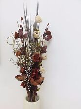 90 cm Choc&Cream Maize Artificial & Dried Flower Bouquet IN GLASS VASE