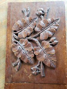 antique oak ornate wooden wood pediment carved leaves acorns pair