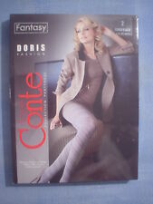 Conte Fantasy Doris Spiral Pattern Pantyhose Size 2 in Chocolate