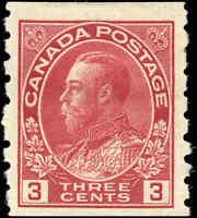 1924 Mint H Canada 3c F+ Scott #130 Admiral KGV Coil Stamp