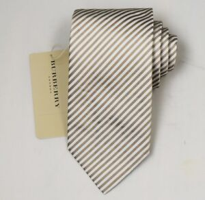 """NEW Burberry GOLD Stripes Mans 100% Silk Tie Authentic Italy Made 3.5"""" 035068"""