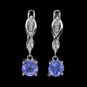 Unheated Round Tanzanite 6mm Cz White Gold Plate 925 Sterling Silver Earrings