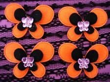 30 Halloween Felt Butterfly Rhinestone Applique/Purple/Orange/Black/Make Bow D22