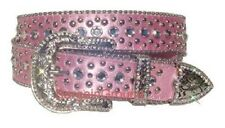 New Women Western Rhinestone Bling Crystal Stud Buckle Pink Leather Belt M