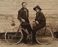ANTIQUE BICYCLE MILITARY WW1 ERA EUROPE CUTE GUYS SPROCKET SEAT GEAR RPPC PHOTO