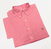 Ralph Lauren Chambray Oxford Short Sleeve Shirt In Red Size Big & Tall