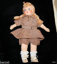 """GIRL SCOUT BROWNIE 1950s GEORGENE NOVELTIES 13"""" CLOTH DOLL"""