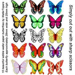 Pack of 15 UNCUT colourful edible wafer / rice paper butterflies - mixed designs