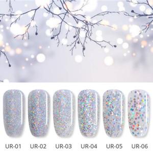 7.5ml Soak Off Silver Holographicss UV Gel Polish Sequins  Nail Gel Varnish