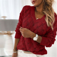 Knitted Feather Pattern Sweater V-neck Long Sleeve Jumper Pullover Hollow Out