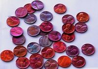 1 ROLL 50 COINS OF LINCOLN CENT BEAUTIFULLY TONED BLUE,PURPLE,RED MIXED DATES