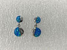 """Sterling Silver .925 ~Gilson Opal Cubic Zirconia ~ 3/4"""" Post Drop Earrings"""