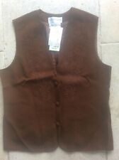 Liz Claiborne Brown Wool Waistcoat with Embroidered floral pattern U.K. Size 18