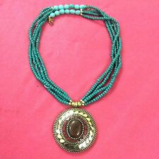 ETHNIC JEWELRY TIBETAN SOLID BRASS TURQUOISE-CORAL ANTIQUE NECKLACE CH1412