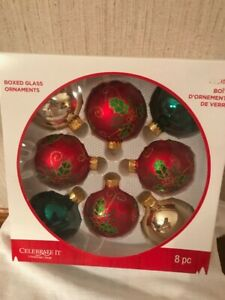 Celebrate It 8 Glass Red Green Holly Christmas Ornaments
