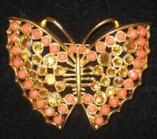 Gold Toned Butterfly Pin with Coral Colored Stones