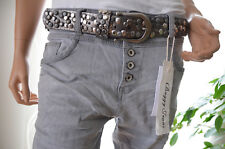 JEWELLY LEXXURY Jeans Hose Baggy Boyfriend M 38 Frühjahr grau Italy Style Neu