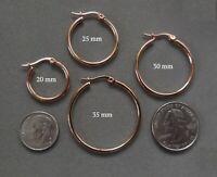 Stainless Steel Rose Gold IP Snap Post Hoop Earrings - 2 mm X Multiple Diameters