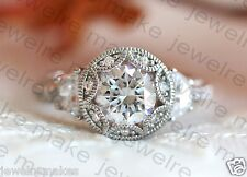 Certified 2.30ct White Round Cut Diamond Vintage Engagement 14K White Gold Ring