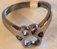 Paw Print Thumb Ring Stainless Steel Dog Cat Silver