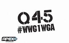 #WWG1WGA Q 45 Anon Anonymous Patriotic Trump Black Vinyl Sticker Not Alex Jones