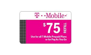 T-Mobile  Prepaid $75 Refill Top-Up Prepaid Card , AIR TIME  PIN / RECHARGE