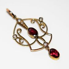 Edwardian Garnet & Pearl 9ct Yellow Gold Lavaliere Necklace Pendant