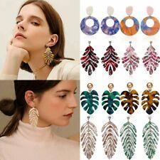 Fashion Geometric Boho Acrylic Resin Banana Leaf Earrings Hook Stud Dangle Women