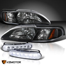 1994-1998 Ford Mustang 1Pc Black Headlights Signal+LED DRL Bumper Fog Lamps