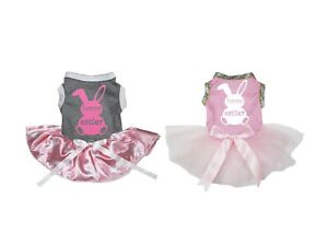 Pink Happy Easter Bunny Grey Top White Bunny Tutu Pet Dog Dress Puppy Clothes